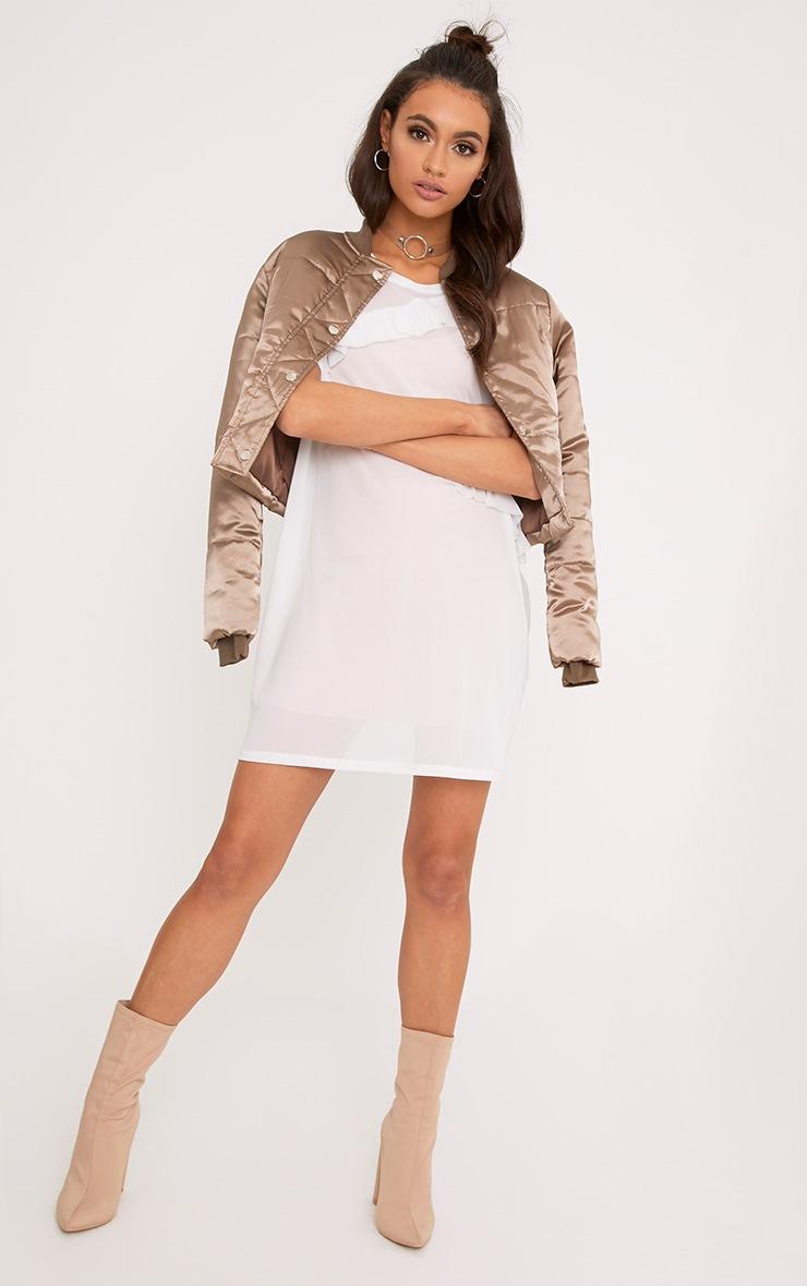 Hannie White Ruffle Mesh T Shirt Dress 4
