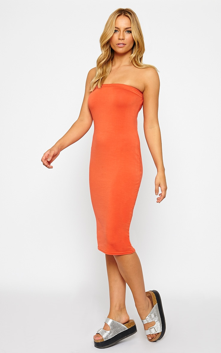 Basic Orange Jersey Bandeau Midi Dress 3