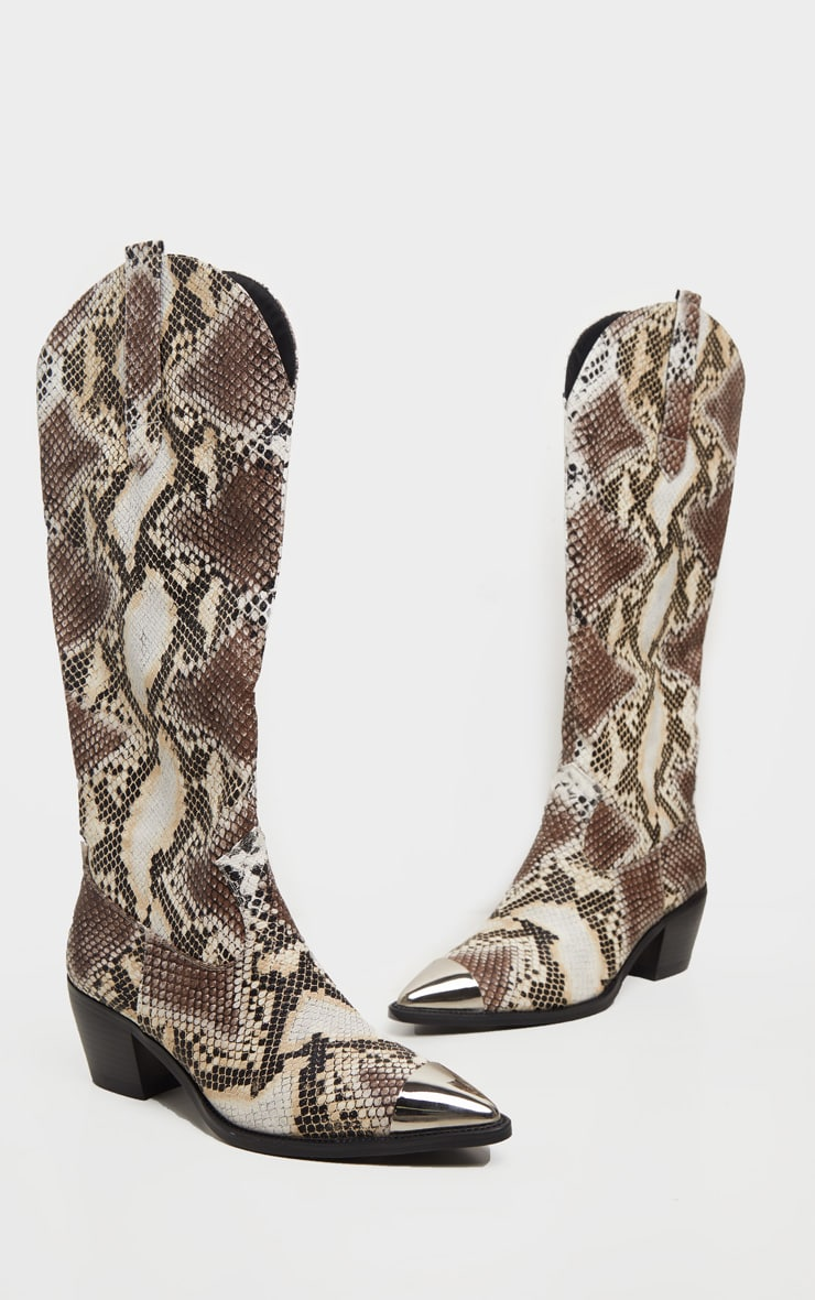 Snake Metal Toe Calf Western Boots 3