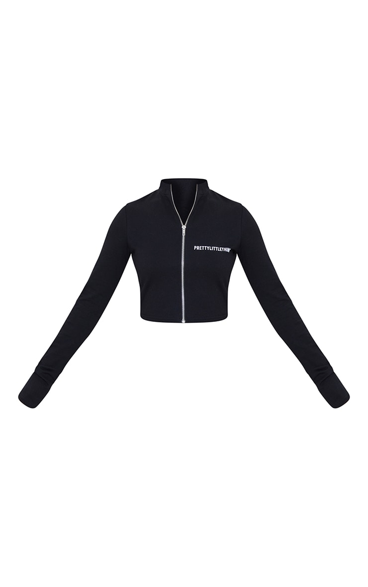 PRETTYLITTLETHING Petite Black Long Sleeve Zip Up  Crop Top 5