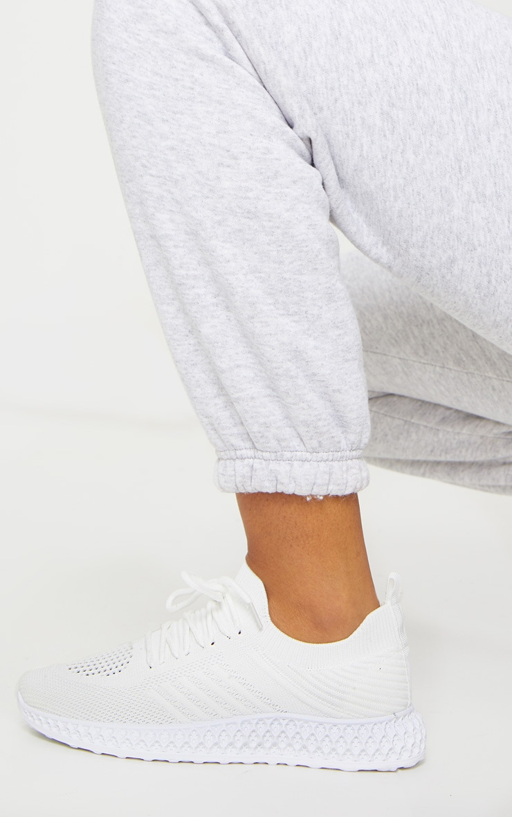 White Knitted Lace Up Trainers 1