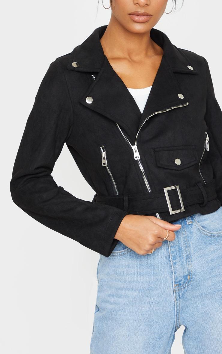 Black Faux Suede Pocket Detail Biker Jacket 3