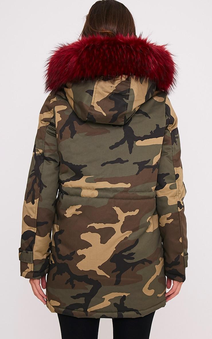 Fliss Red Premium Camo Faux Fur Lined Parka 2