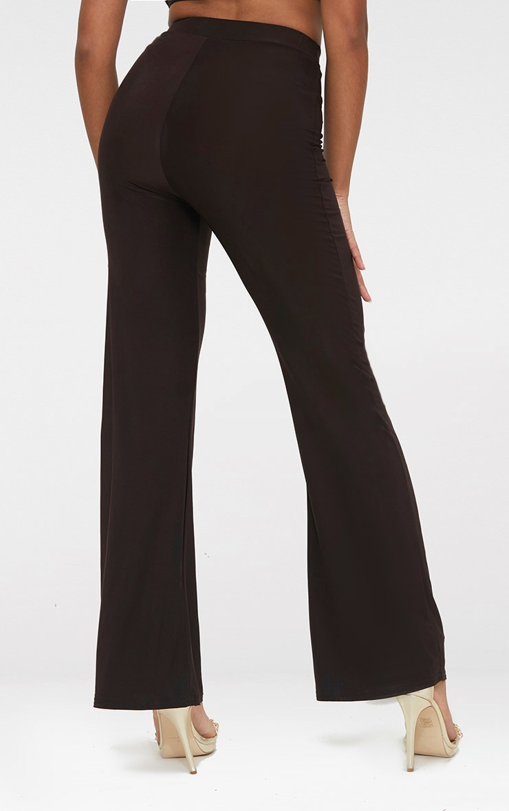 Petite Chocolate Kyleigh Slinky Wide Leg Trousers 3