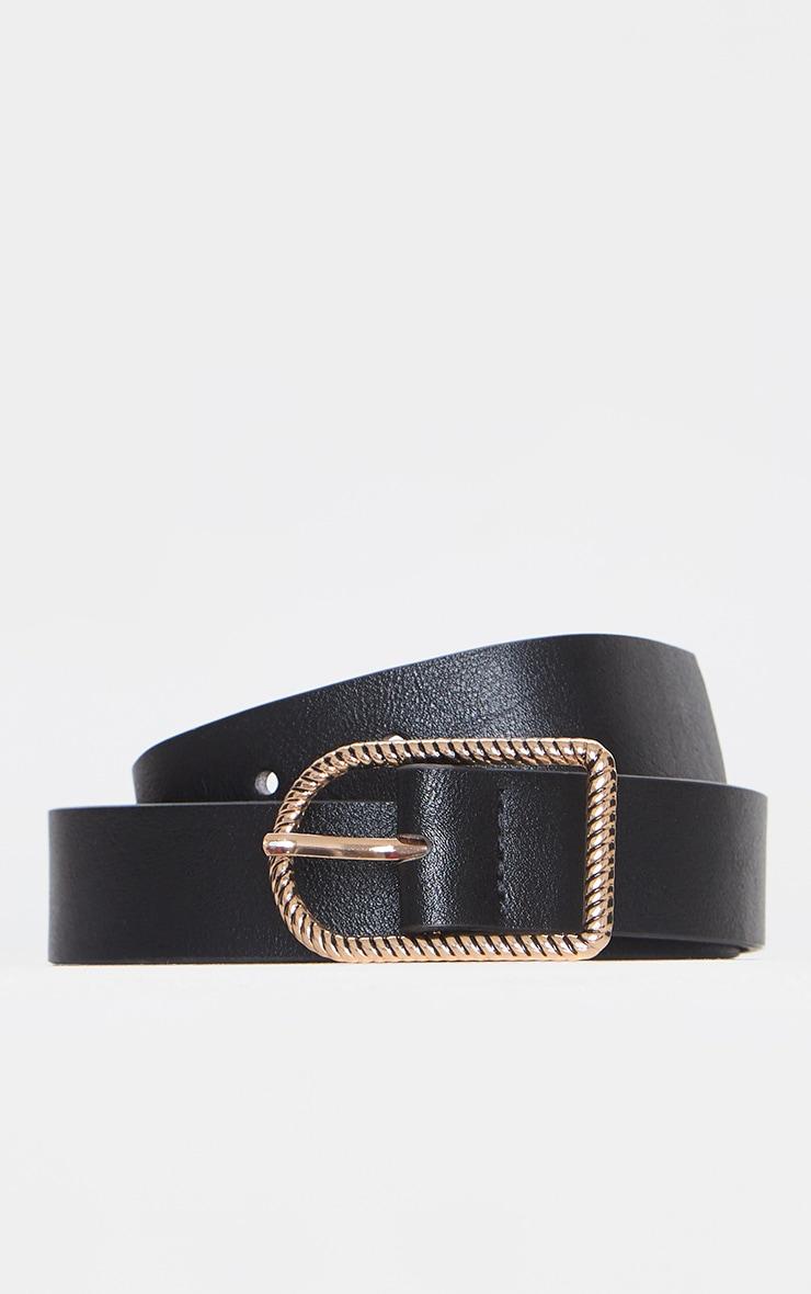Black PU Twist Buckle Belt 3