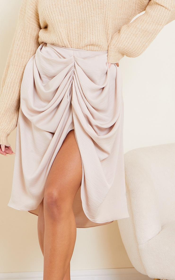 Cream Woven Draped Midi Skirt 5