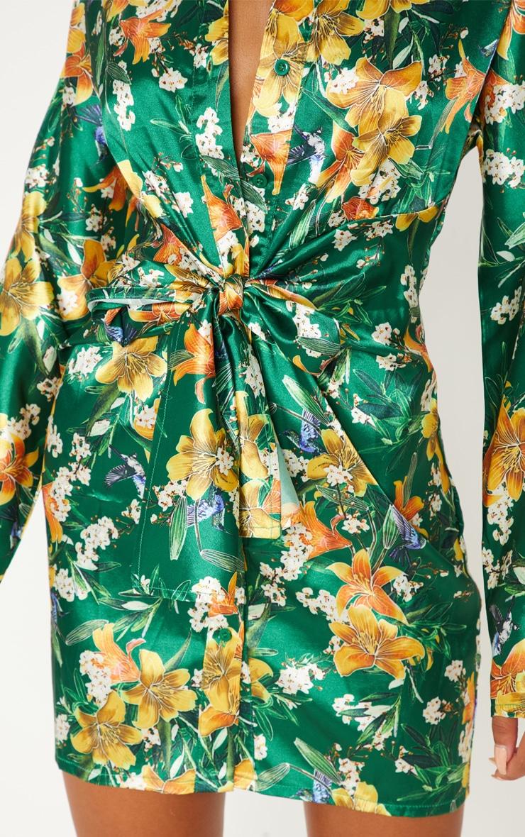 Green Satin Floral Knot Front Detail Shirt Dress 5