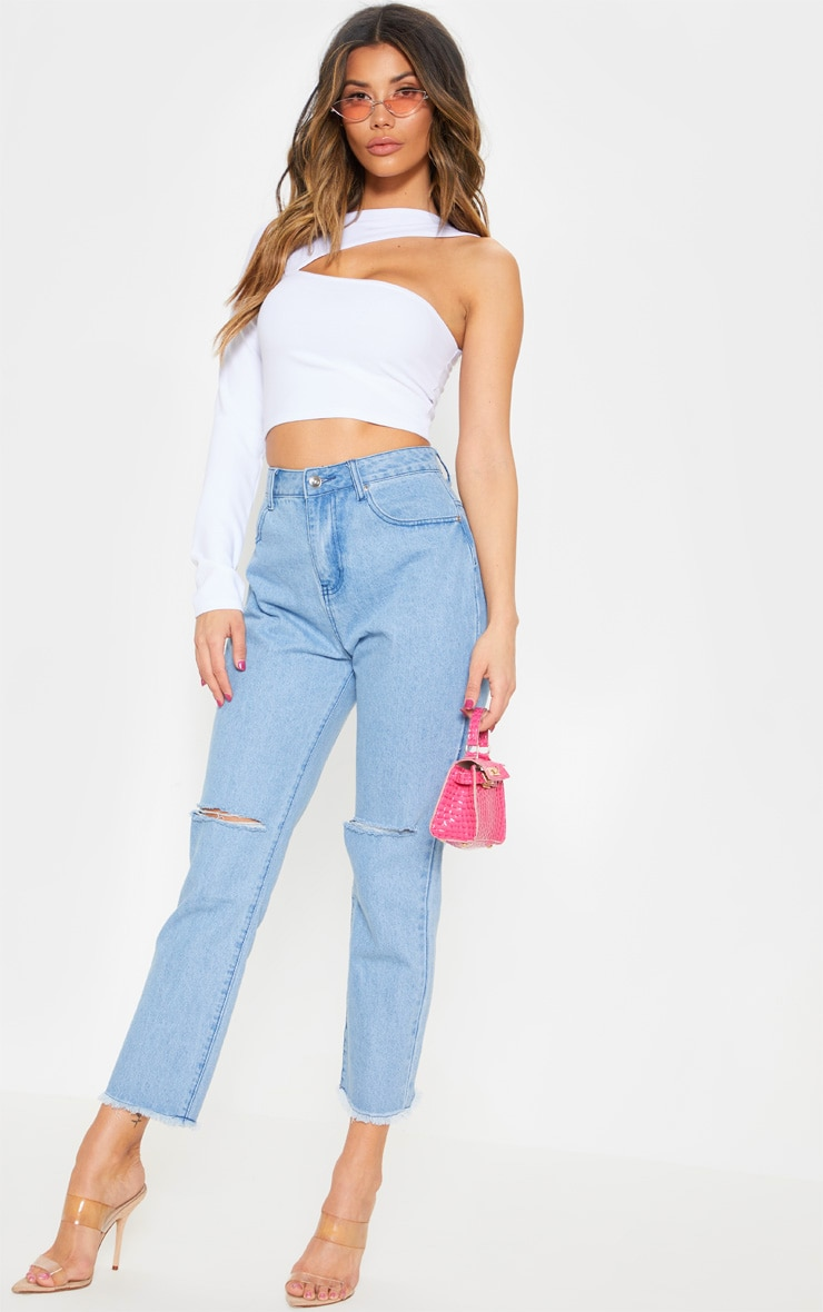 White One Shoulder Cut Out Top 4