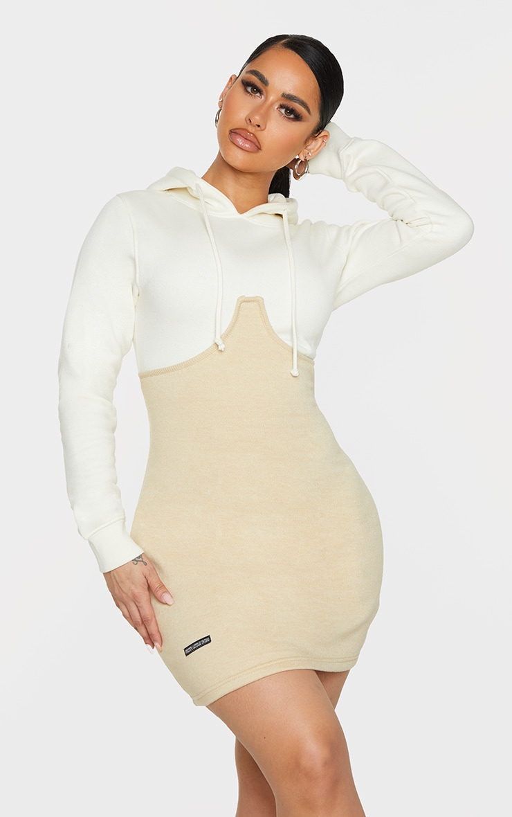Shape Cream Underbust Detail Hooded Sweatshirt Dress 1