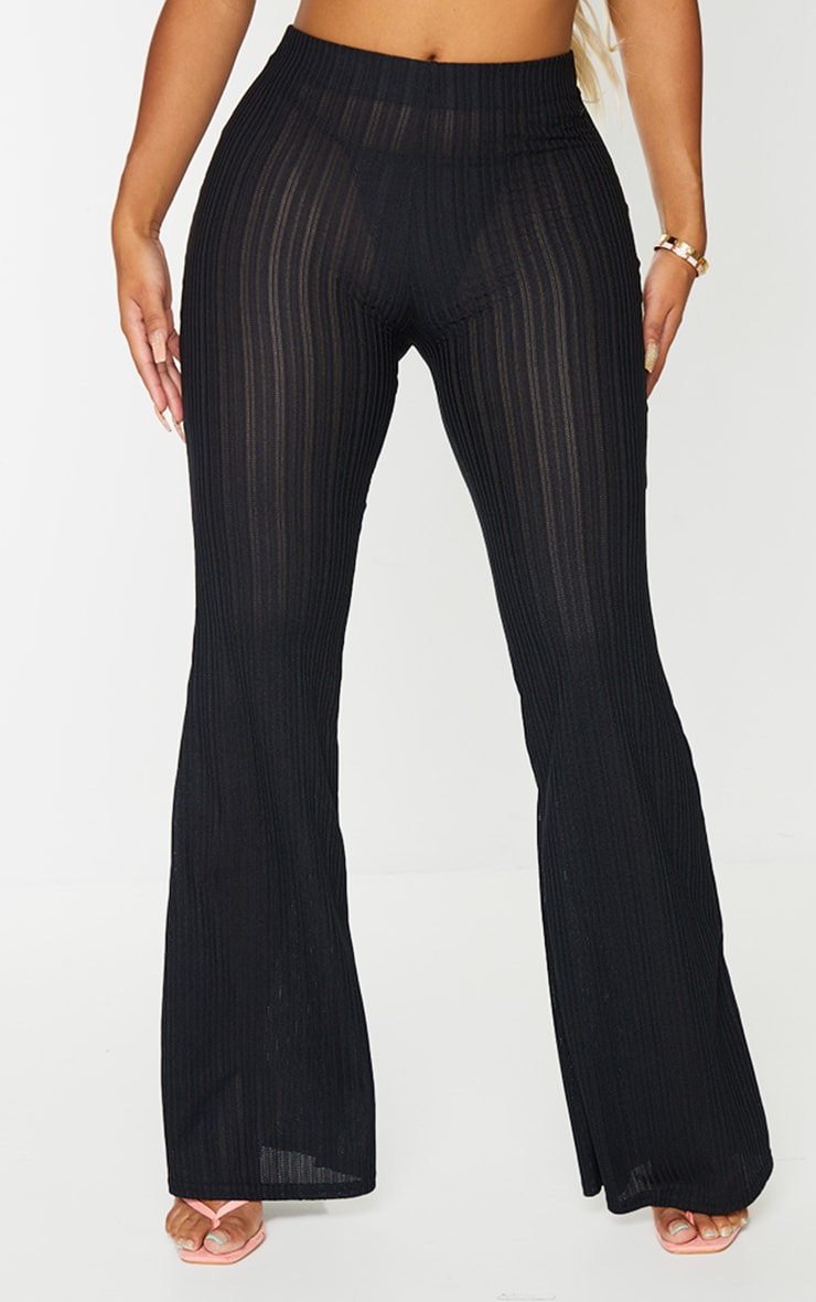 Shape Black Sheer Textured Flared Trousers 2