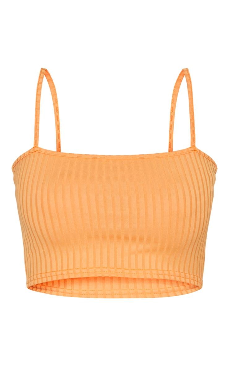 Basic Orange Rib Square Neck Strappy Crop Top  3