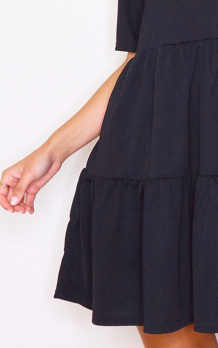 Black Tiered Short Sleeves Smock Dress 4