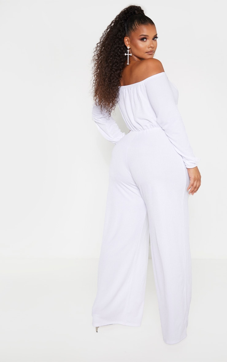 Plus White Eyelet Detail Wide Leg Jumpsuit  2
