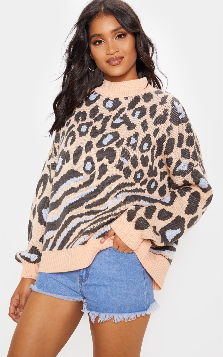 Peach Mixed Animal Print Knitted Sweater 1