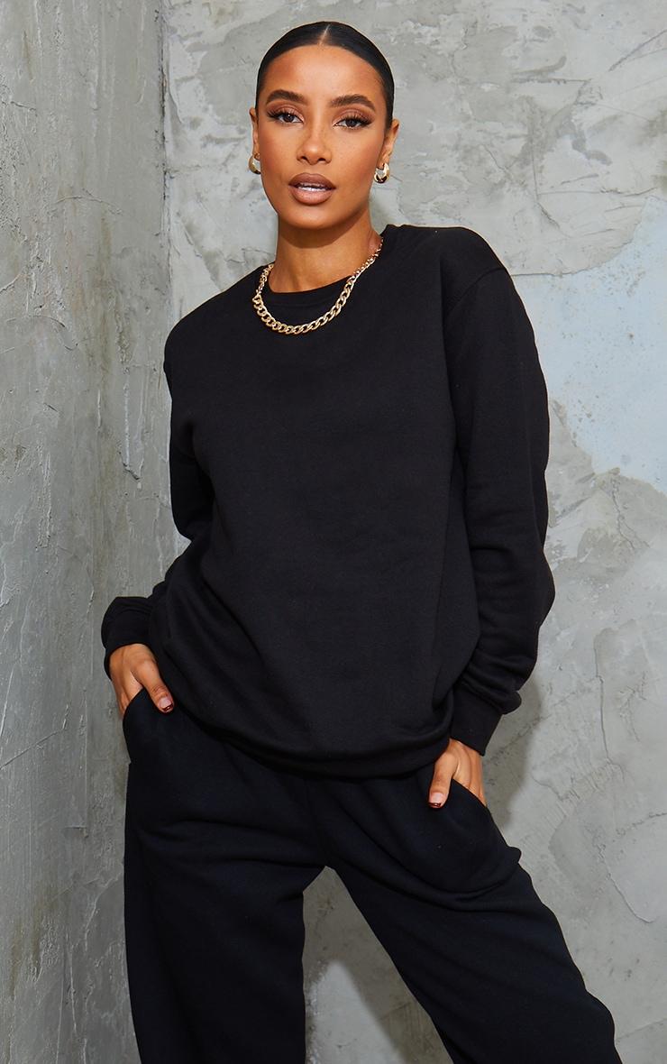 Recycled Oversized Black Sweatshirt 1