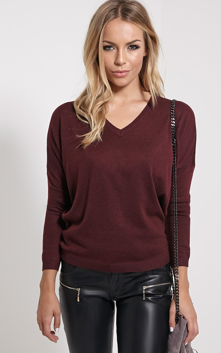 Mirari Burgundy Fine Knit Jumper 4