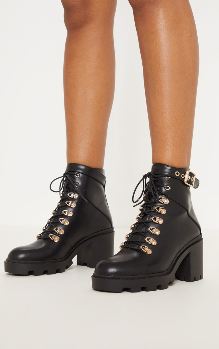 Black Lace Up Heeled Hiker Boot 2