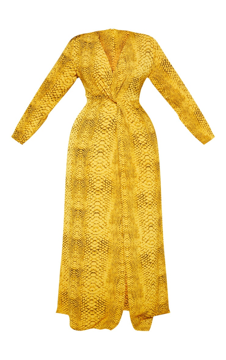 Plus Yellow Snake Twist Detail Maxi Dress 3