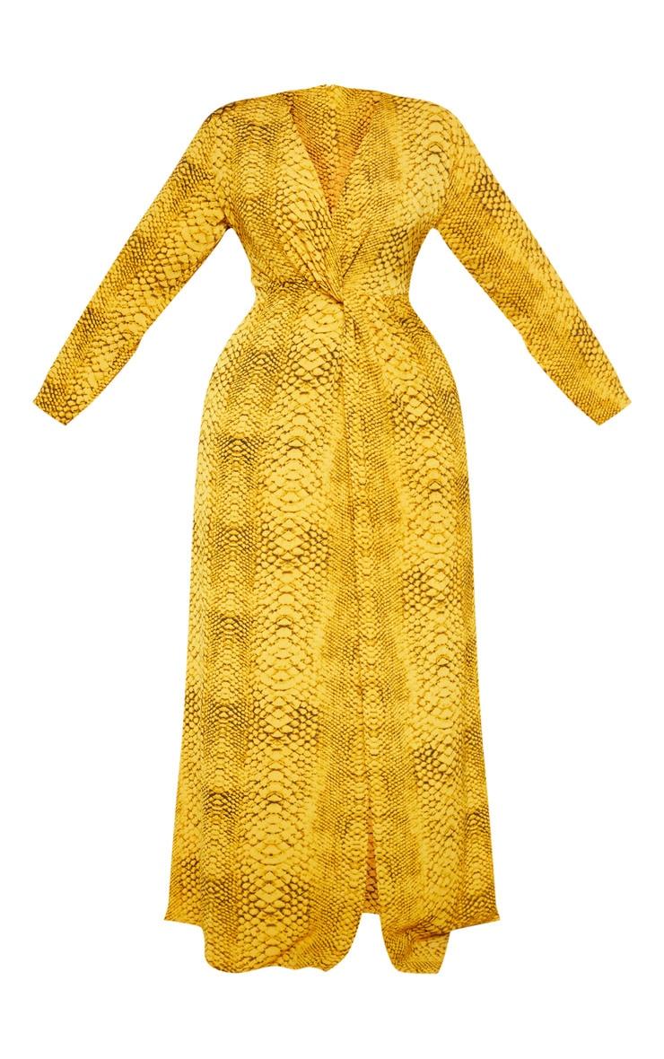 Plus Yellow Snake Twist Detail Maxi Dress 3