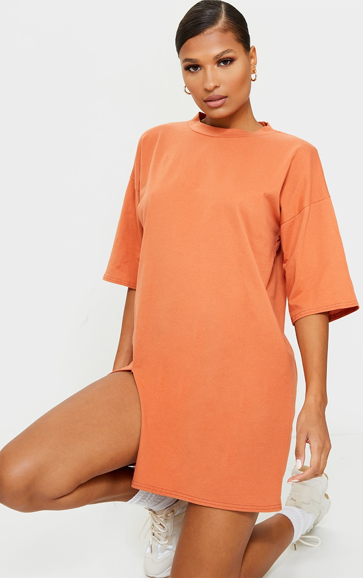 Rust Split Oversized Boyfriend T Shirt Dress 1
