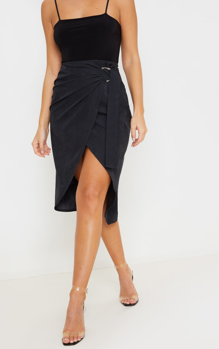 Black Faux Suede D Ring Wrap Midi Skirt 2