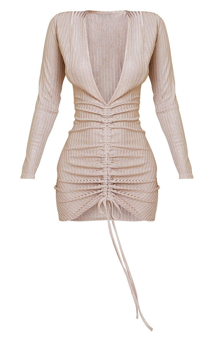 Gold Glitter Rib Long Sleeve Plunge Ruched Bodycon Dress 5