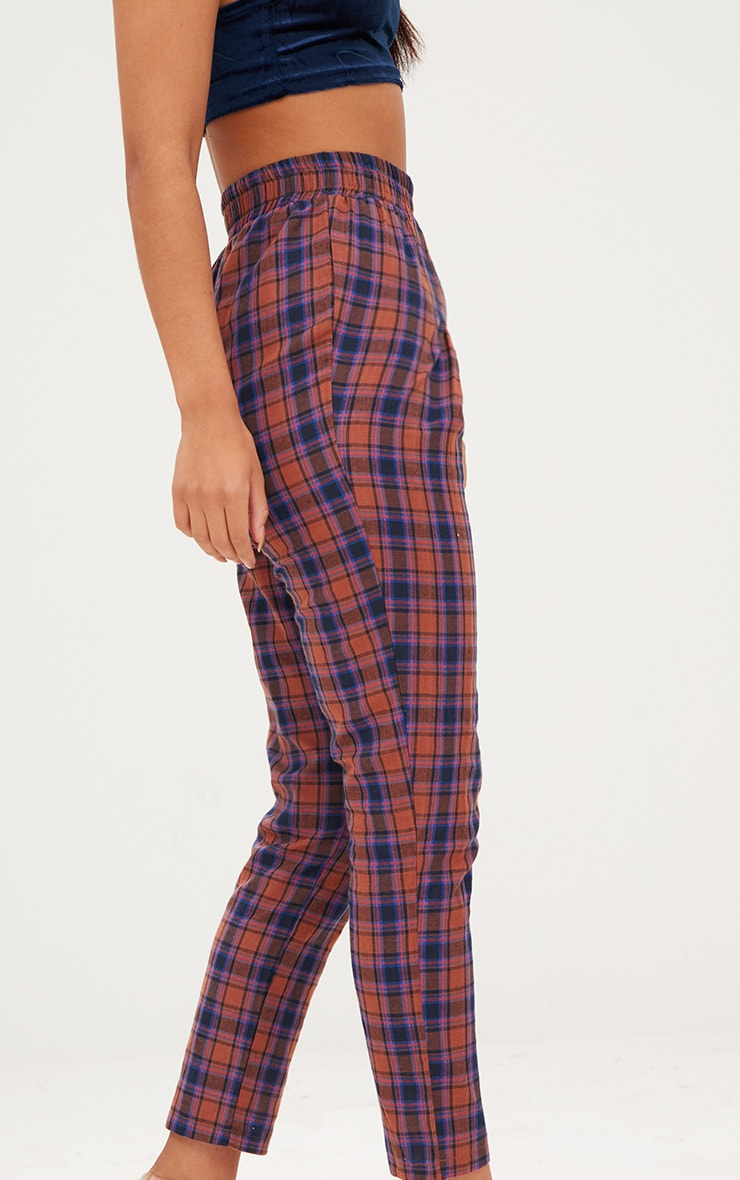 Rust Check Front Pleat Casual Trousers 5