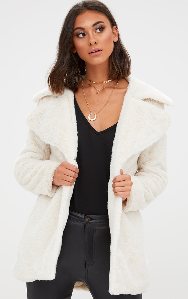 Cream Mid Length Faux Fur Coat 1