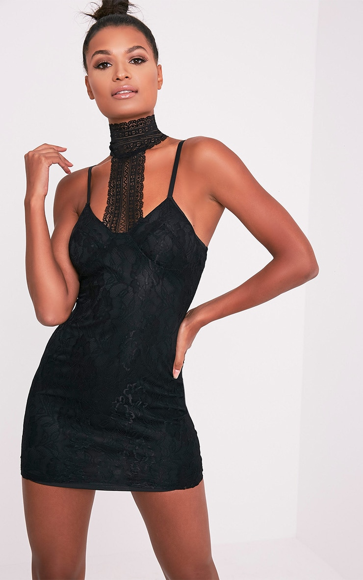 Victoria Black Choker Detail Lace Bodycon Dress 1
