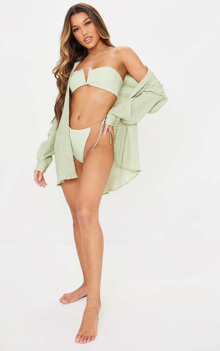 Green Shirred Crinkle Oversized Beach Shirt 3