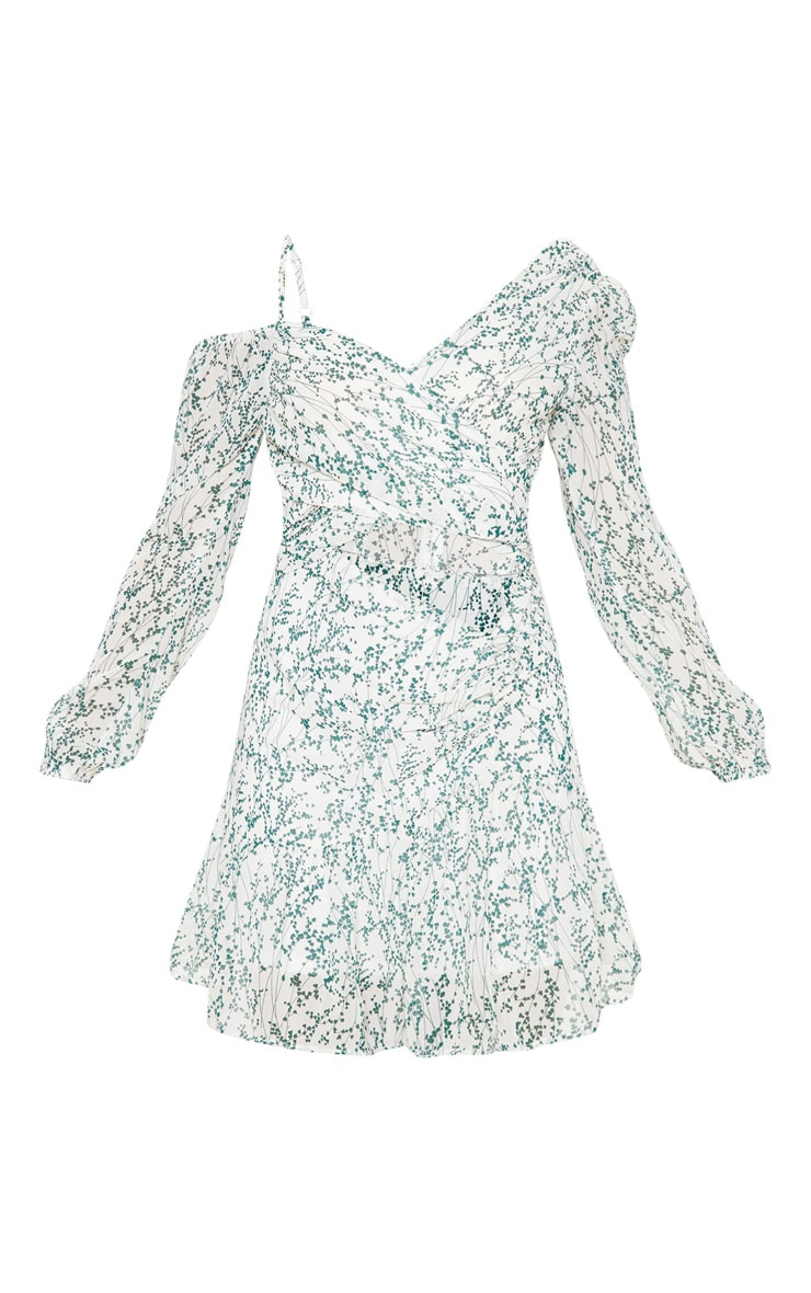 White Ditsy Print Chiffon Cut Out Skater Dress 3