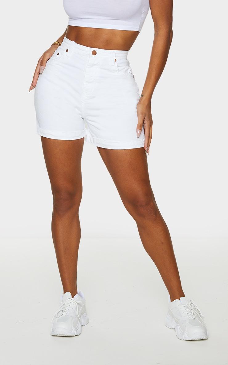 Shape White High Waist Fitted Denim Shorts 2