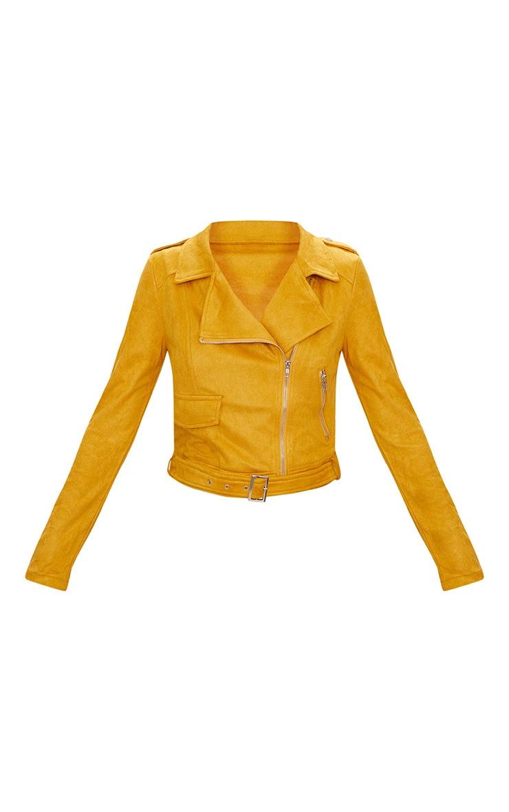 Niki veste biker en imitation daim jaune moutarde 3