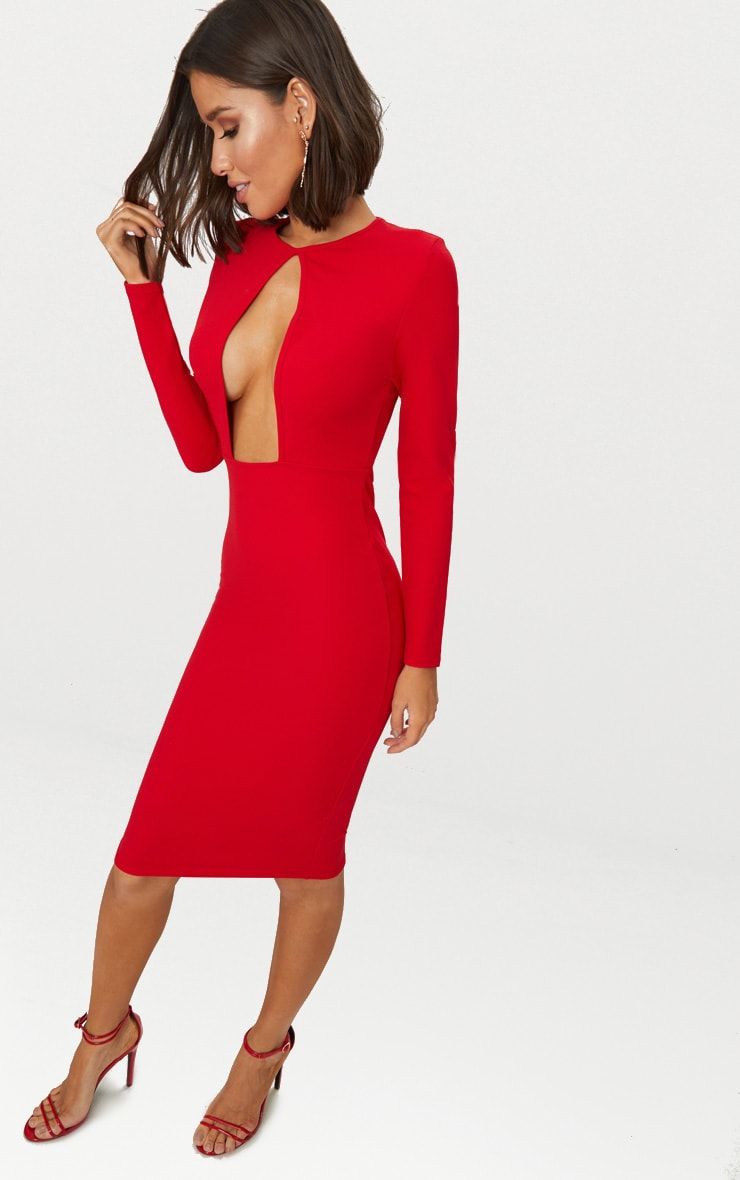 Red Cut Out Detail Midi Dress 4