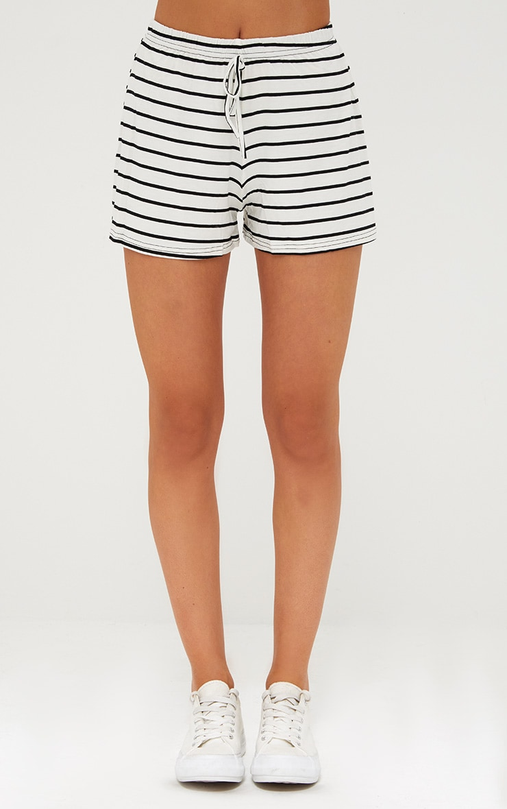 Cream Jersey Stripe Shorts 2