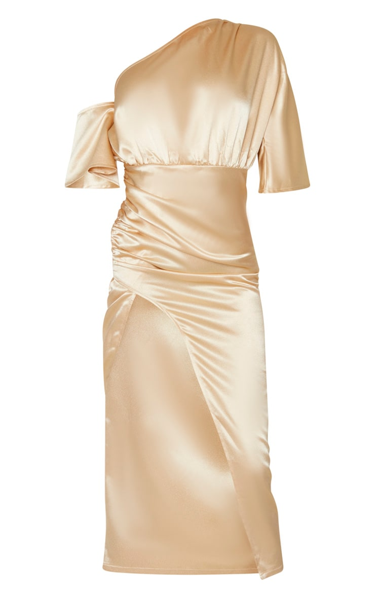 Tall - Robe mi-longue champagne satinée à manche unique et jupe froncée 3