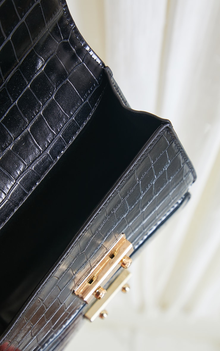 Black Ruched Handle Croc Grab Bag 4
