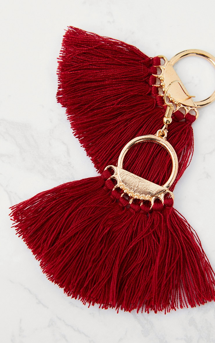 Burgundy Drop Fan Tassel Earrings 4