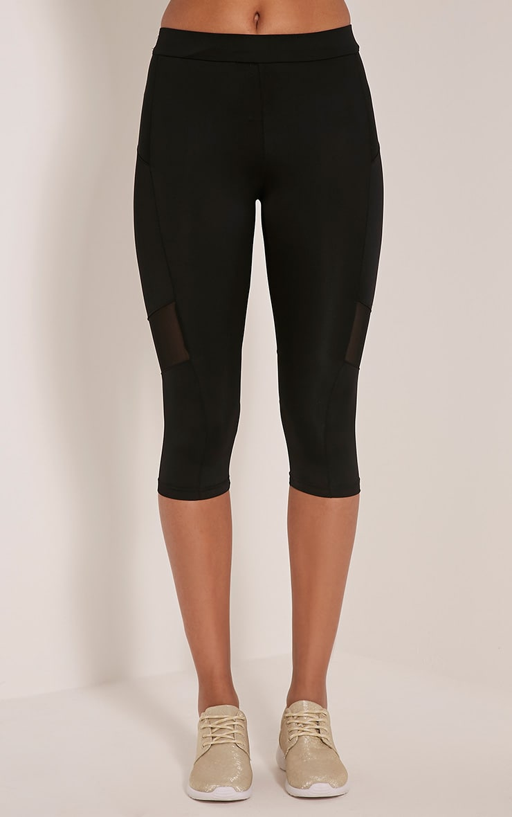 Franceska Black Mesh Panel Cropped Gym Leggings 2