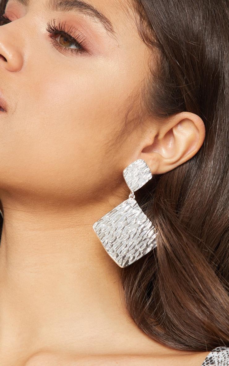 Silver Textured Diamond Shape Drop Earrings by Prettylittlething