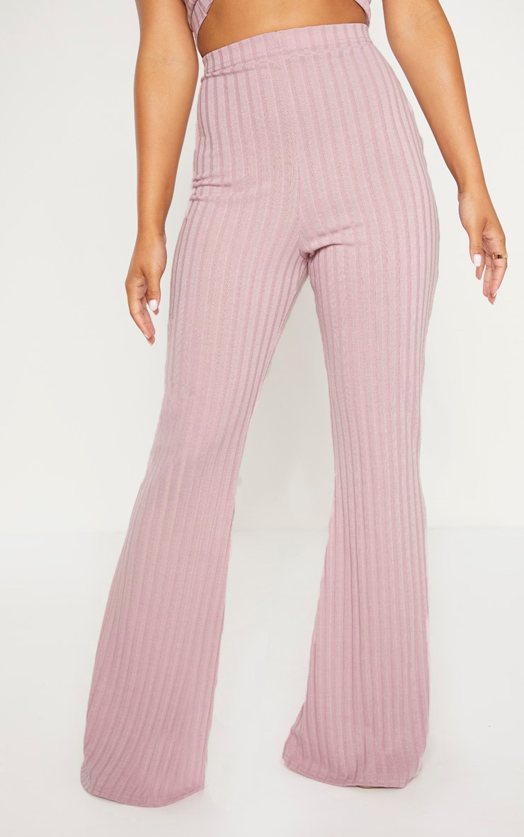 Petite Dusty Lilac Ribbed Flares  2