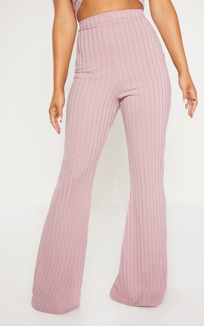 Petite Dusty Lilac Ribbed Flares
