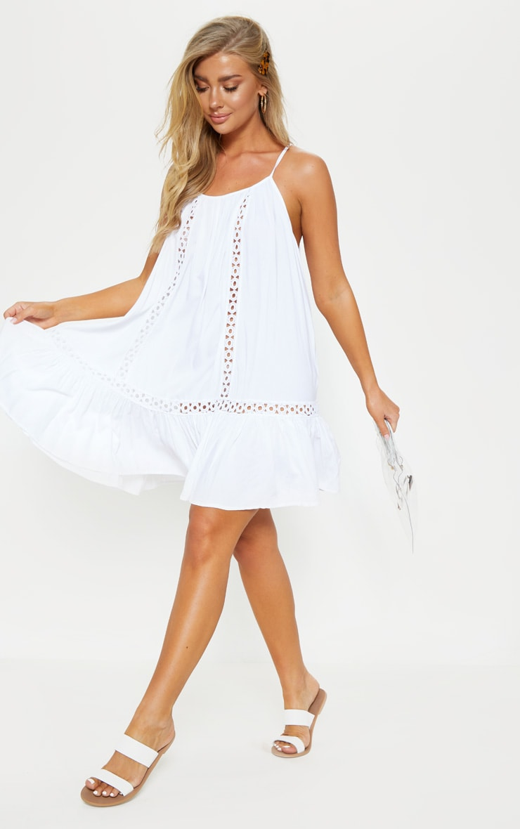 White Crochet Trim Frill Hem Beach Dress 4