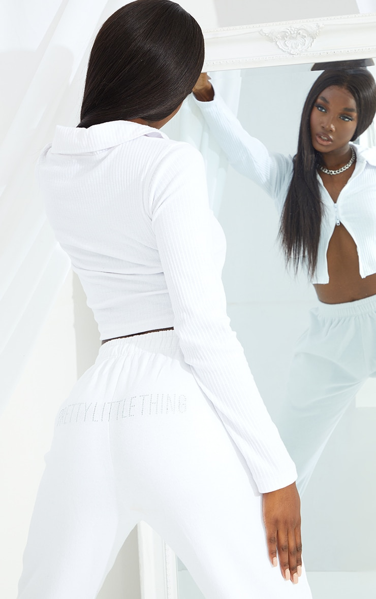 PRETTYLITTLETHING Tall White Diamante Jogger 4
