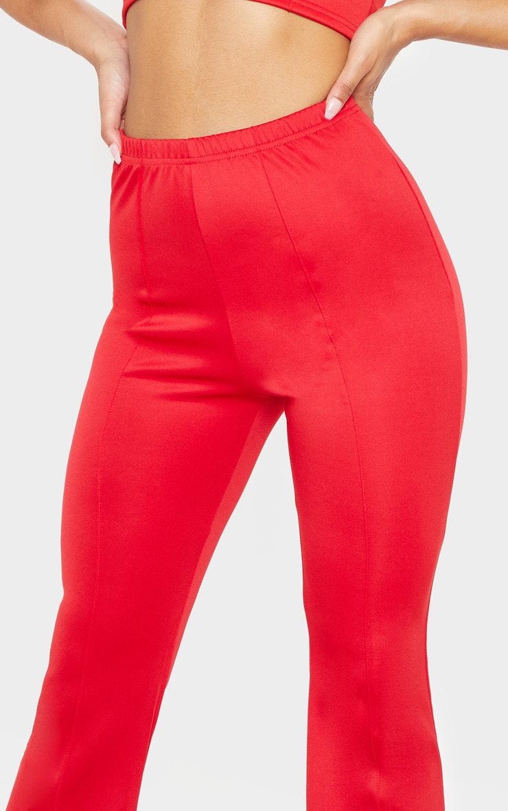 Red High Waist Extreme Flare Long Leg Pants 5