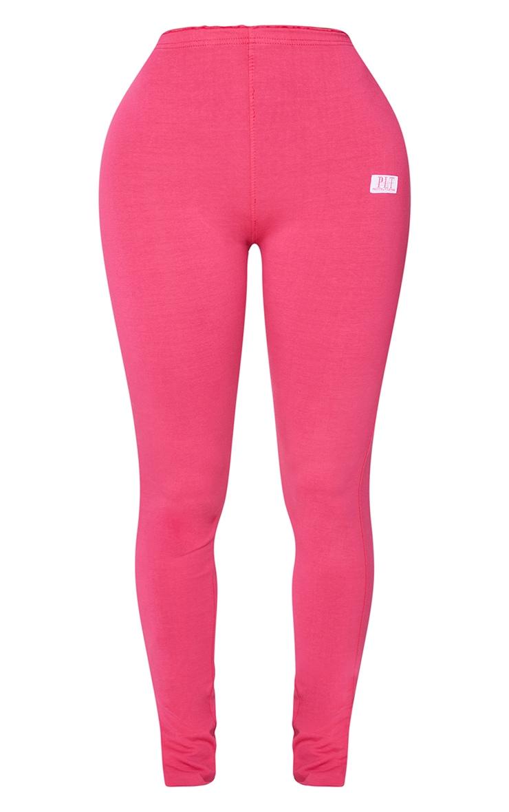 PRETTYLITTLETHING Shape Hot Pink Split Hem Leggings 5