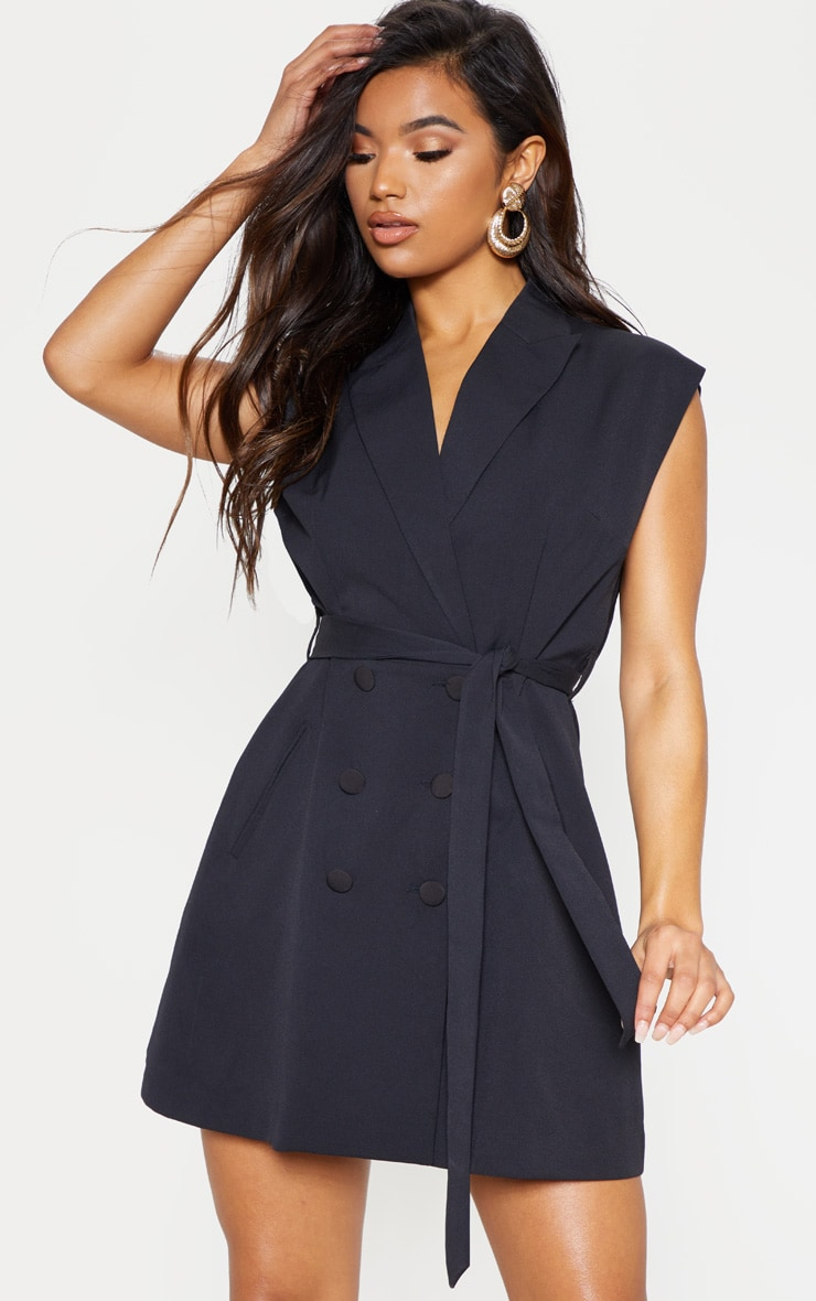 Black Tie Waist Sleeveless Blazer Dress