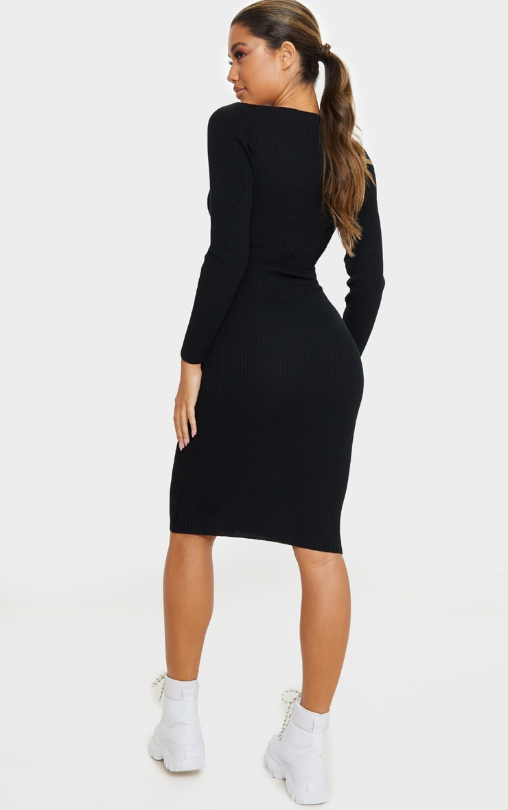 Black V Neck Knitted Midi Dress 2