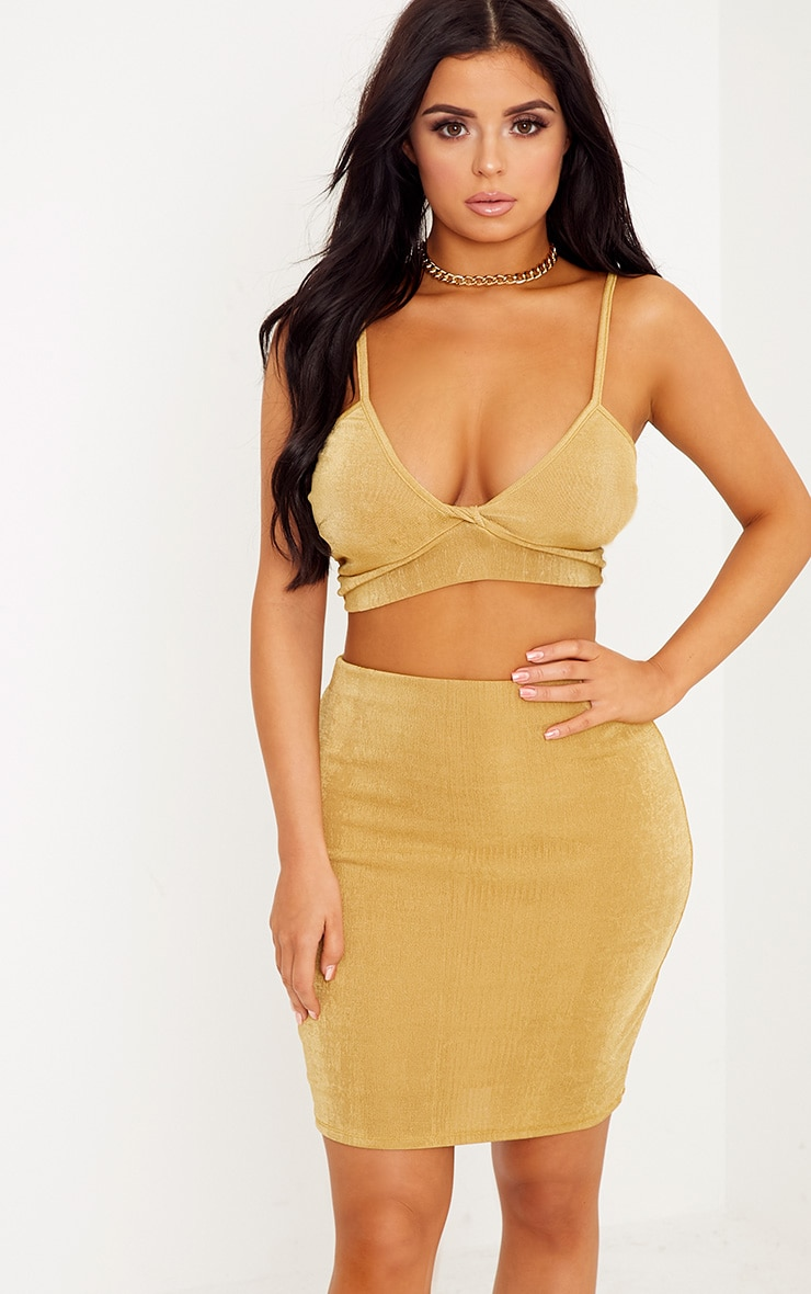 Shape Lyndah Gold Slinky Knot Front Crop Top Co-Ord 1
