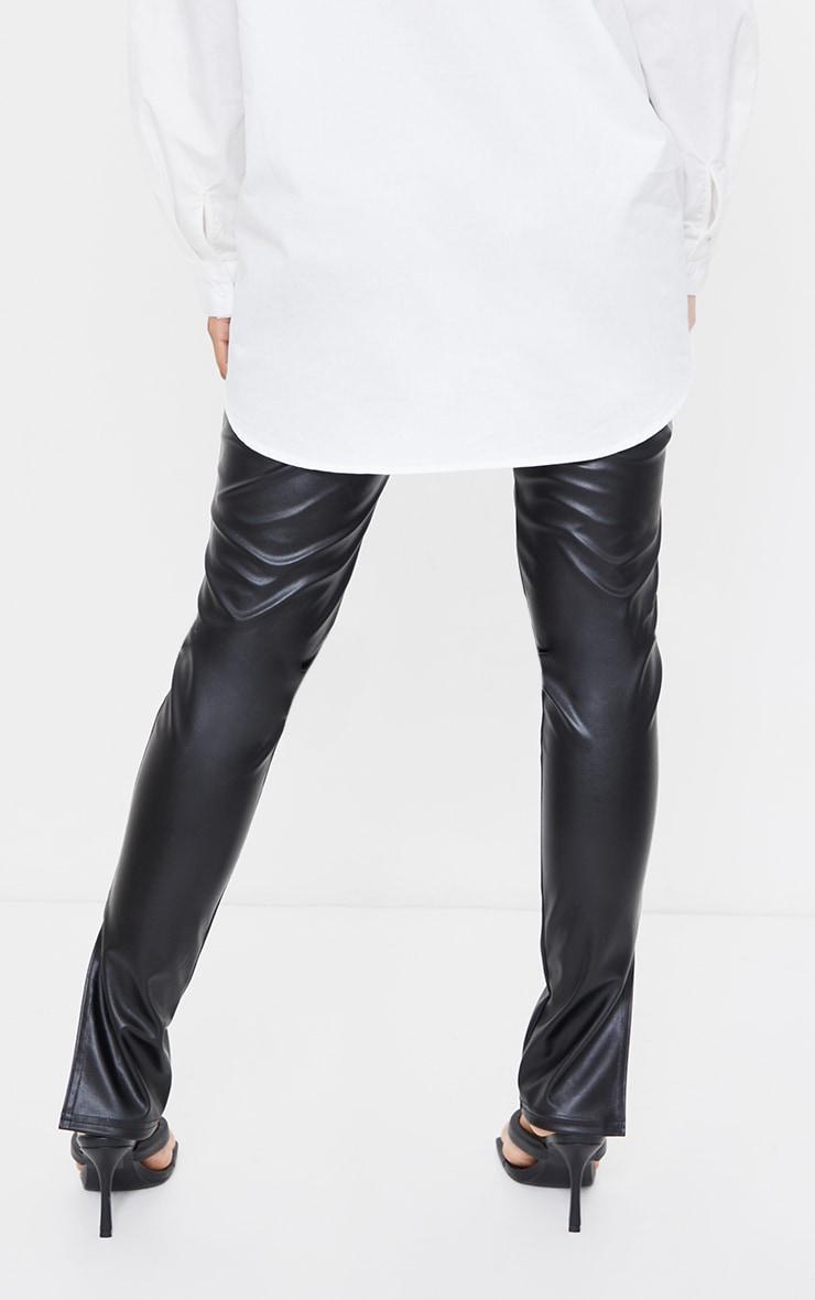 Maternity Black Faux Leather Split Hem Trousers 3